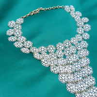 Vintage White Floral Filigree Bib Necklace