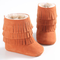 Baby Girls Boys Autumn Winter Warm Moccasin Boots Newborn  Fringe Shoes Infant Toddler Kids Soft Soled Anti-slip Booties