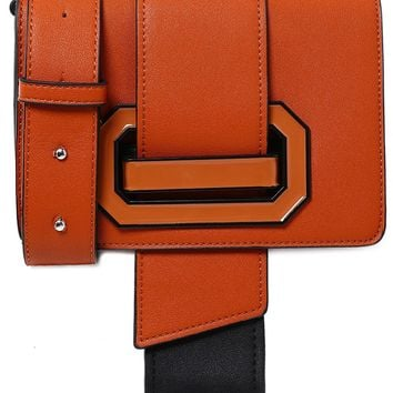 Buckle Cross Body Bag in Brown