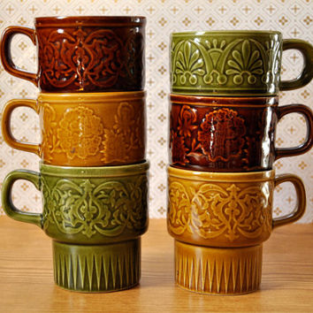 Vintage Mid Century Japanese Stacking Mugs