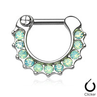 Opalites Green Surgical Steel Septum Clicker Ring Daith Nose Jewelry