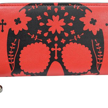 Rockabilly Day of the Dead Flower Sugar Skull Red Zip Around Wallet
