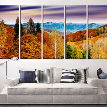 Large Canvas Print - Mountain and Autumn Wall Art Canvas Print, Sunset on Mountain Large 5 Panel Canvas Print, Eventide Yellow Trees
