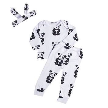 3Pcs Clothes Suit!!  Newborn Baby Girl Boy Cartoon Animal Long Sleeve Tops Sweatsuit Pants Headband Clothes Set
