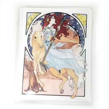 Art Nouveau Horse and Rider Note Card, Watercolor Horse Lover Stationery, Blank Horse Stationery, Unicorn Note Cards, Palomino Note Cards