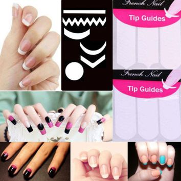 VONE2B5 2 Pack Striping Line French Manicure Form Nail Art Tape Sticker DIY Stencil 9.8G0.6Y