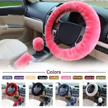 3pcs/1pc/set Winter Soft Plush Car Steering Wheel Cover Handbrake Cover Sets Wool Warm Vehicle Interior Design Accessories