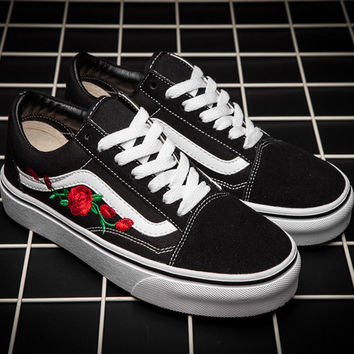 Trendsetter VANS Canvas Flower Embroidery Old Skool Flats Sneakers Sport Shoes