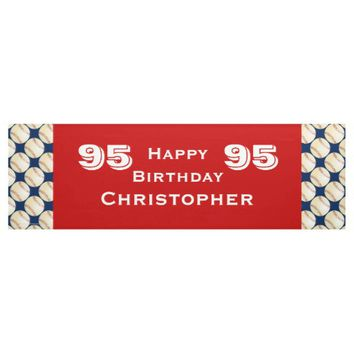 95th Birthday Party Baseball Banner, Adult, Red Banner