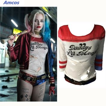Movie Suicide Squad Harley Quinn Cosplay Accessories  T-Shirt 1:1 Original Edition Woman Costumes Halloween Party Props T Shirt