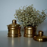 Brass jar with lid 1960s set of 2 by SCAVENGENIUS on Etsy