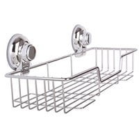 IPEGTOP Rustproof Stainless Steel Shower Caddy Rectangle Basket Shampoo Holder Organizer Storage for Kitchen Bathroom, Super Strong Suction Cup Wall Shelves