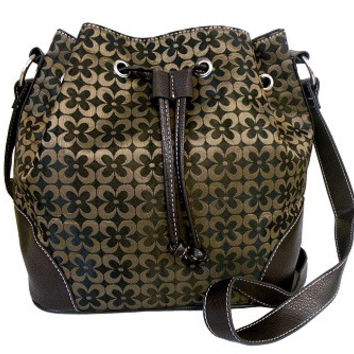 Fashion Brown Drawstring Bag with Magnetic Closure