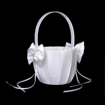 Ivory Satin Bowknot Wedding Flower Girl Basket Faux Pearl Rhinestone Decor = 1932168196