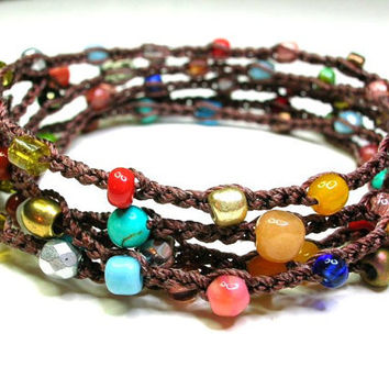 Surfer crochet wrap bracelet, beaded boho necklace. Colorful Bohemian beach jewelry, multi-color stones, hippie chic gypsy