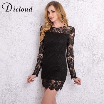 DICLOUD 2018 Spring Women Dresses O-neck Long Sleeve Lace Patchwork Bodycon Elegant Mini Dress Elastic Sheath Vestidos KY173011