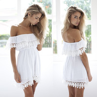 Off Shoulder Slash Neck Chiffon Dress