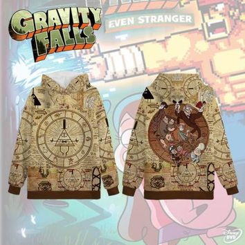 Gravity Falls Bill Cipher Zodiac Symbol Full Printed 3D Pullover HIP HOP Hoodie Hooded Sweatshirt Halloween Cosplay Costume Gift