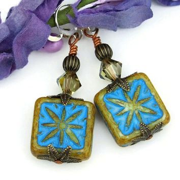 Handmade Star Earrings, Turquoise Beige Czech Glass Crystal Beaded Dangle Jewelry