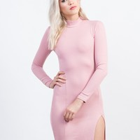 Mock Slit Ribbed Dress