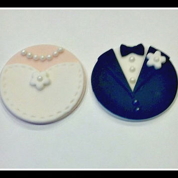 Bride & Groom Fondant Cupcake Toppers. Stitches on the Wedding Dress Set of 12 (1 dozen)