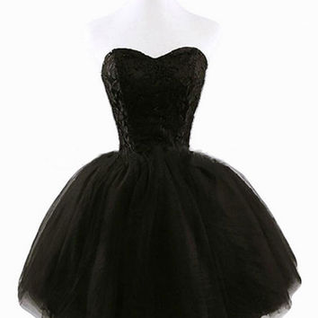 Black Audrey Hepburn Vintage Tube Dress Short Lace Embroidered Stitching Mini Tutu Princess Gown Dress