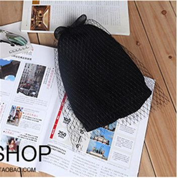 DCCKWQA Bow net yarn veil hats knitted cap millinery 2015 new winter spring wool cap beanies women hat fashion accessories