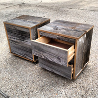 Reclaimed Wood Bedside Table (Grey)