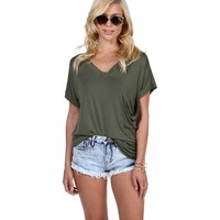 Olive Im Bad Distressed Tee Shirt