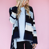 Striped Knit Drape Cardigan