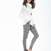 FOREVER 21 Baroque Print Leggings Black/Cream