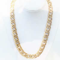 Vintage Chunky Curve Link Gold Necklace
