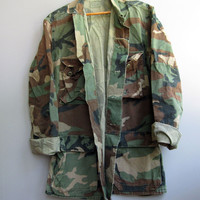 Men's Vintage Camo Military Jacket Shirt Woodland Camouflage Cotton Small Long