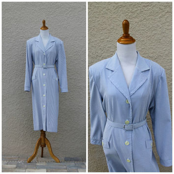 Vintage 80s Blue Pin Striped Trench Shirt Dress by Henry Lee// Belted Dress// Office Day Dress// Midi Dress// Seersucker Dress// X LARGE