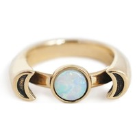 Pamela Love 10K Gold Luna Ring w/ Opal