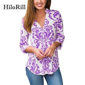 HiloRill Fall 2017 Fashion Women Blouses Floral Print Long Sleeve Blouse Elegant Ladies Office Shirts Tunic Tops Chemise Femme