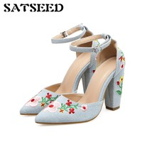 New Buckle Pointed Toe Shoelaces Women 2017 Spring Europe And America Buckle Strap Embroidery Exports High-heeled Shoes Fashion