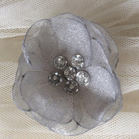 Silver Sew on flowers Embellishment organza silver sequins couture blossoms 3D decoration applique ornament for DIY wedding