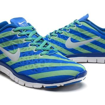Women's Nike Free TR FIT 3 Print Strip Limited Training Shoes Royal Blue/Mint