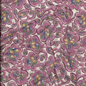 Vintage Floral Print Pink on a White Background Cotton Fabric 2 Yards  X0164