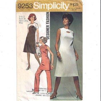 Simplicity 9253 Pattern for Misses Dress, Tunic, Pants, Designer Fashion, Sz 12, From 1971, Vintage Pattern, Home Sew Pattern, 1971 Fashion