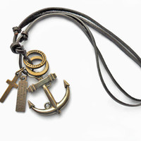 Adjustable leather necklace women necklace men necklace anchor necklace with leather alloy anchor cross Iron ring feather pendant  XL-1645