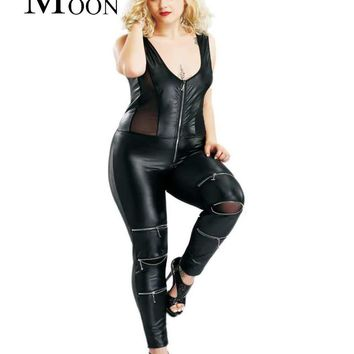 MOONIGHT Sexy Faux Leather Catsuit Jumpsuit Overalls Women Rompers Mesh V Neck Sleeveless Zipper Jumpsuit Women Clubwear