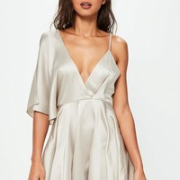 Missguided - Nude Satin Asymmetric Swing Dress