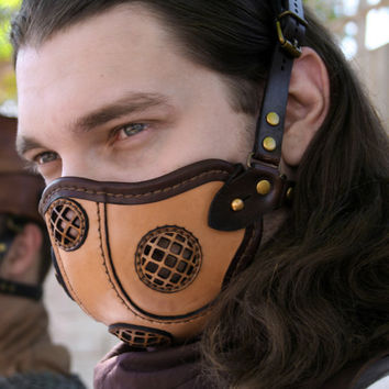 STEAMPUNK LEATHER MASK made of tan and dark brown $125.00