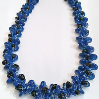 Royal Blue Beadwork Necklace - Royal Blue and Black Seed Bead Patterned Bracelet - Spiral Rope Design Necklace