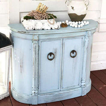 Half Round Night Stand French Blue Shabby Chic Bedside Dresser