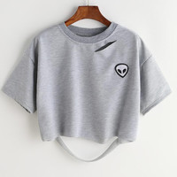 embroidery short section loose T-shirt female holes top gray