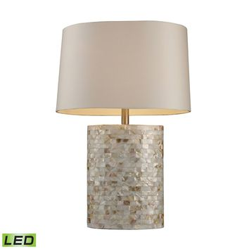 Sunny Isles LED Table Lamp In Genuine Mother of Pearl