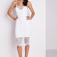 EYE LASH LACE BODYCON DRESS WHITE